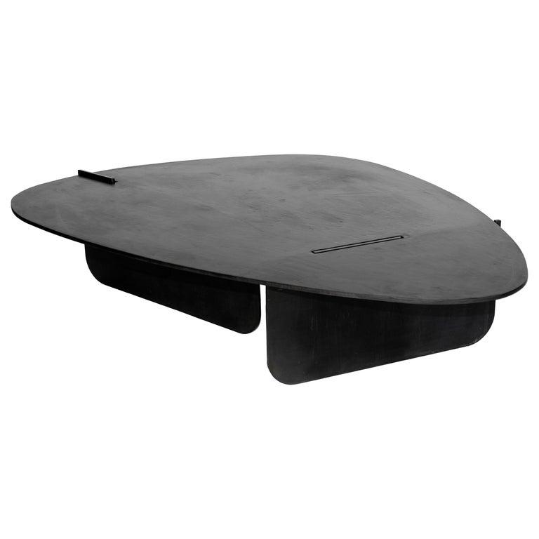 Black Modern Contemporary Blackened Steel Organic Circular Coffee Side Table