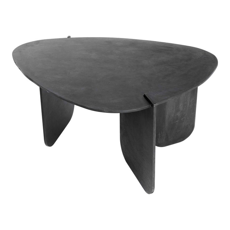 Black Modern Contemporary Blackened Steel Uniquely Circular End Side Table