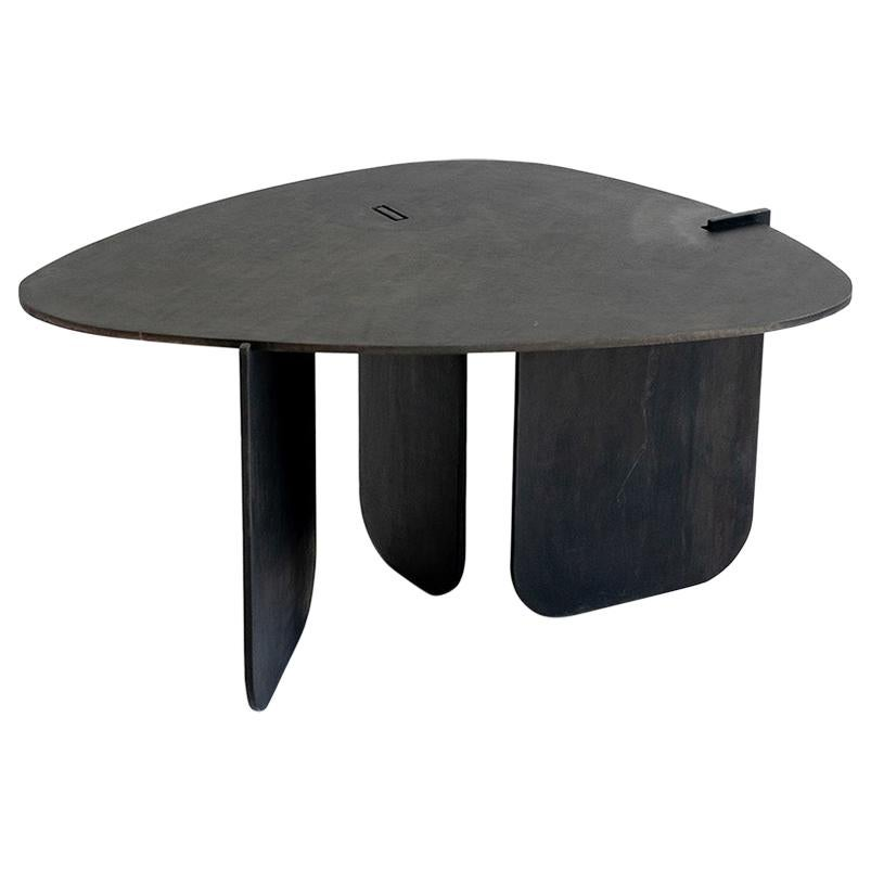 Circular End/Side Table Unique Organic Black Modern/Contemporary Waxed Steel