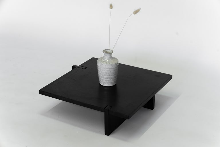 American Black Modern Contemporary Japanese Blackened Steel Organic, Square Floor Tray For Sale
