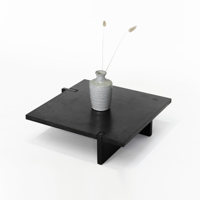 Black Modern Contemporary Japanese Blackened Steel Organic, Square Floor Tray For Sale 1
