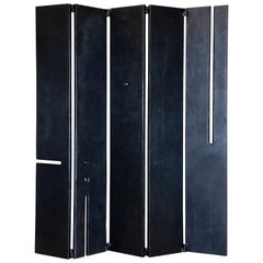 Black Modern Contemporary Sculptural Geometric Folding Screen Room Divider