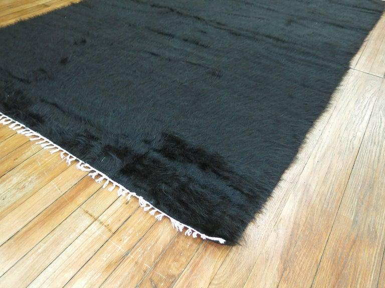 Modern Angora Mohair Wool Rug in Black.