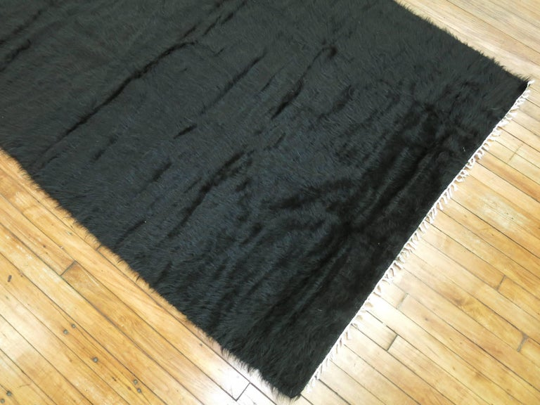 Turkish Black Modern Mohair Rug  For Sale