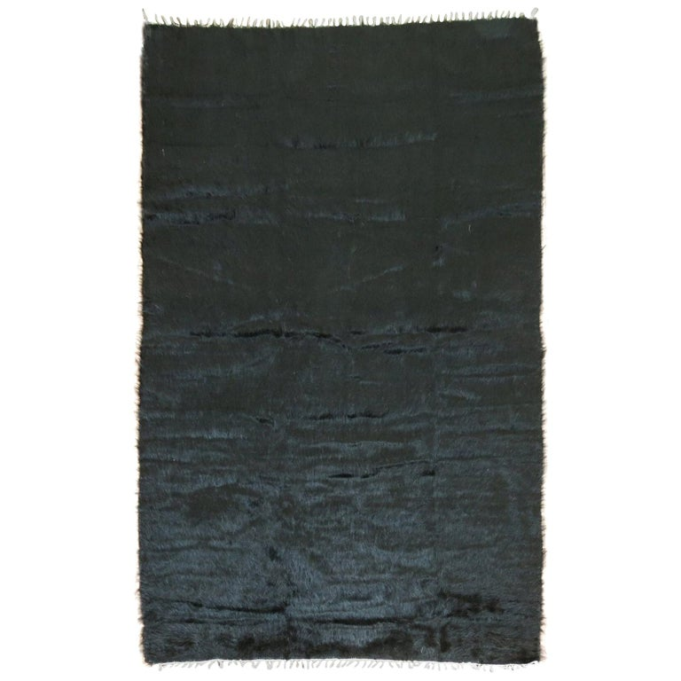 Black Modern Mohair Rug  For Sale