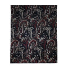 Black Modern Tulip and Paisley Design Hand Knotted Oriental Rug