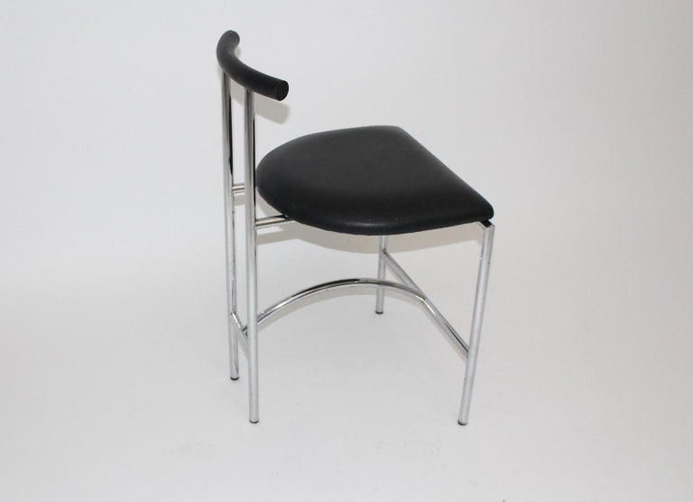 Black Modern Vintage Side Chair Tokyo by Rodney Kinsman 1985 Metal Faux Leather In Good Condition For Sale In Vienna, AT
