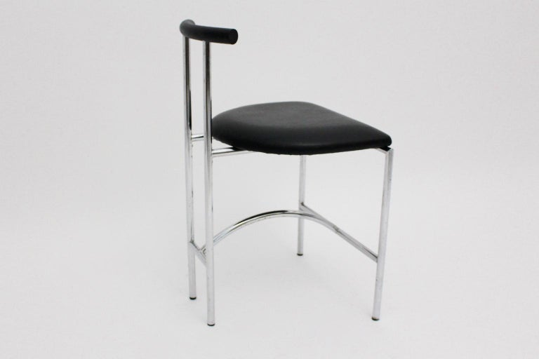 Late 20th Century Black Modern Vintage Side Chair Tokyo by Rodney Kinsman 1985 Metal Faux Leather For Sale
