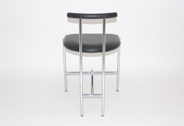 Black Modern Vintage Side Chair Tokyo by Rodney Kinsman 1985 Metal Faux Leather For Sale 1