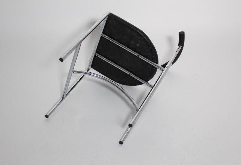 Black Modern Vintage Side Chair Tokyo by Rodney Kinsman 1985 Metal Faux Leather For Sale 2