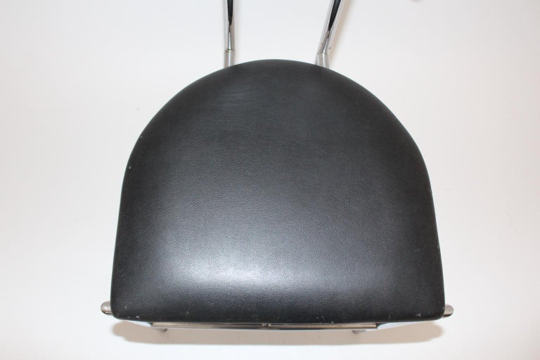 Black Modern Vintage Side Chair Tokyo by Rodney Kinsman 1985 Metal Faux Leather For Sale 3