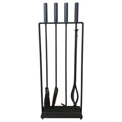 Black Modernist Fireplace Tool Set by Pilgrim