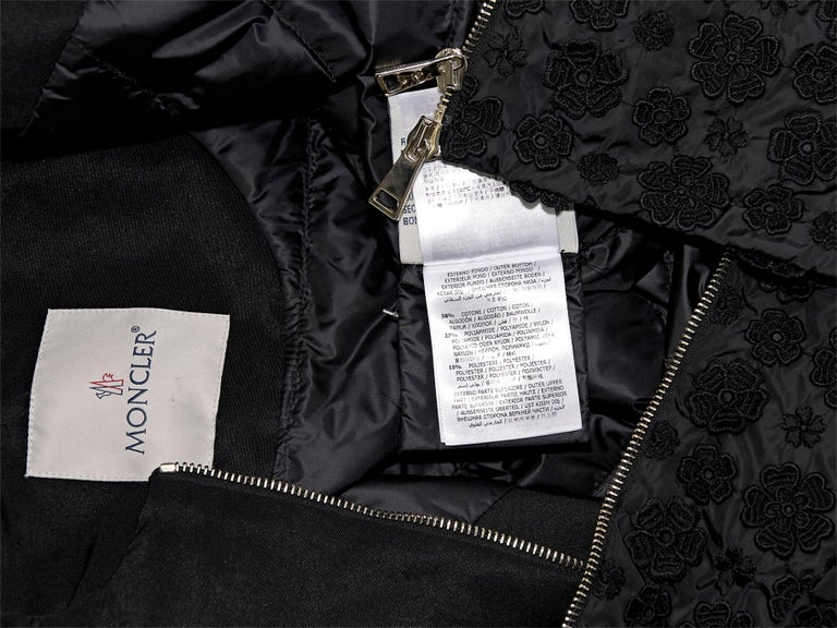 Women's Moncler Black Cotton-Shell Embroidered Jacket For Sale