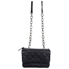 Moncler Black Leather Quilted Crossbody Bag