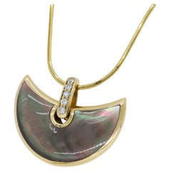 Black Mother of Pearl and Diamond Pendant Necklace
