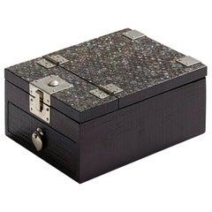 Black Mirror Decorative Box with Mother of Pearl Geometric Pattern