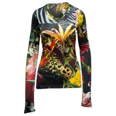 Black & Multicolor Roberto Cavalli Leopard & Floral Print Top