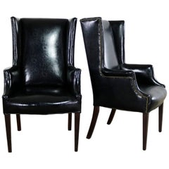 Black Naugahyde Art Deco Hollywood Regency Wingback Chairs Nailhead Detail Pair
