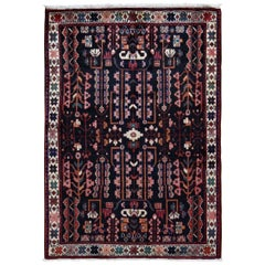 Black Persian Hamadan Pure Wool Hand Knotted Runner Oriental Rug