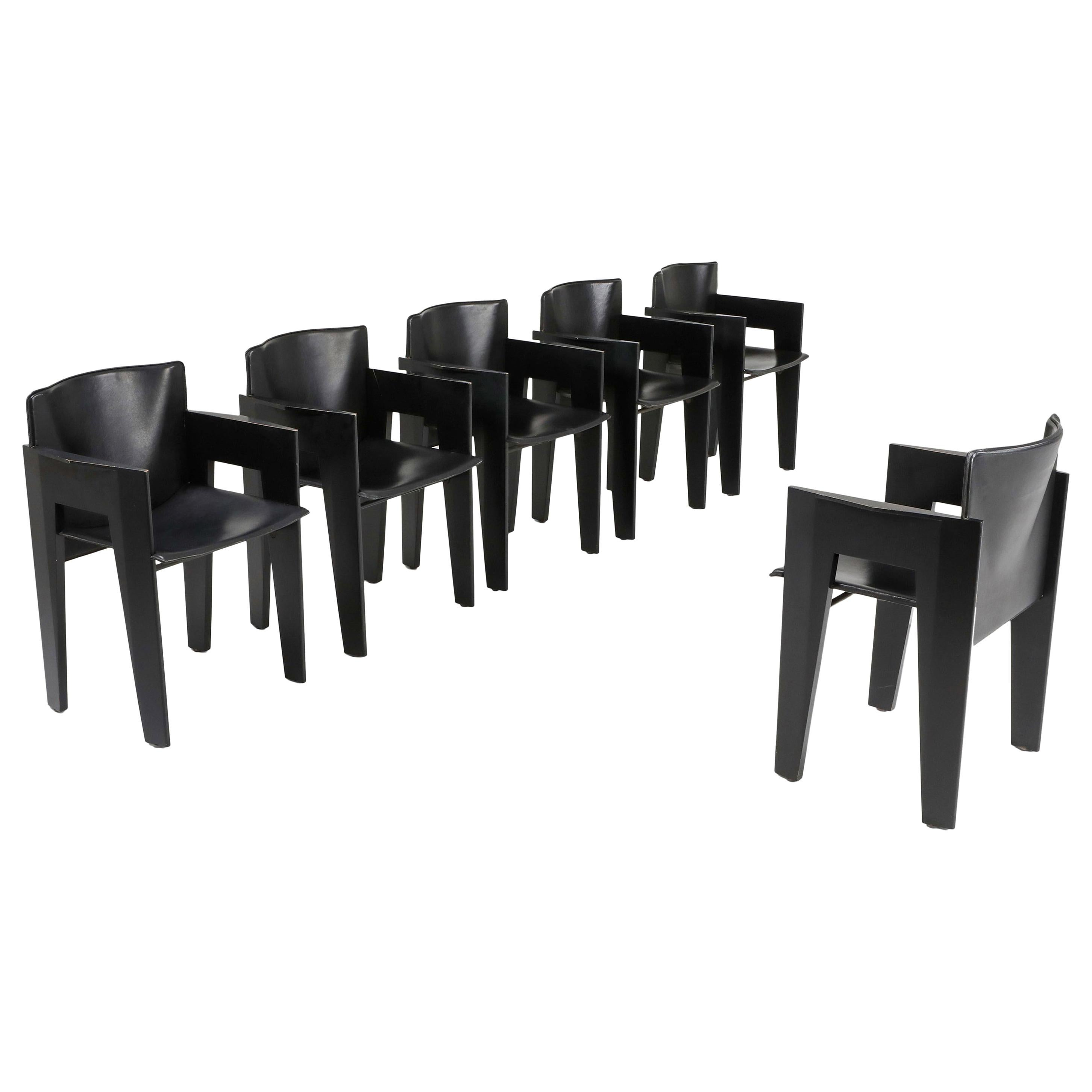Black Oak and Leather Arco Dining Chairs