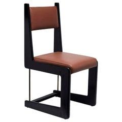 Black Oak and Leather Cruz Dining Chair by Lawson-Fenning