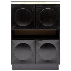 Black Oak Brutalist Bar Cabinet, 1970s