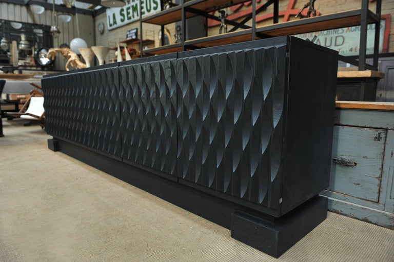 Belgian Black Oak Brutalist Credenza Buffet, 1970 For Sale