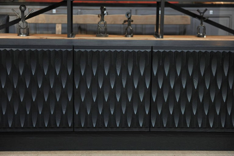 Black Oak Brutalist Credenza Buffet, 1970 For Sale 2