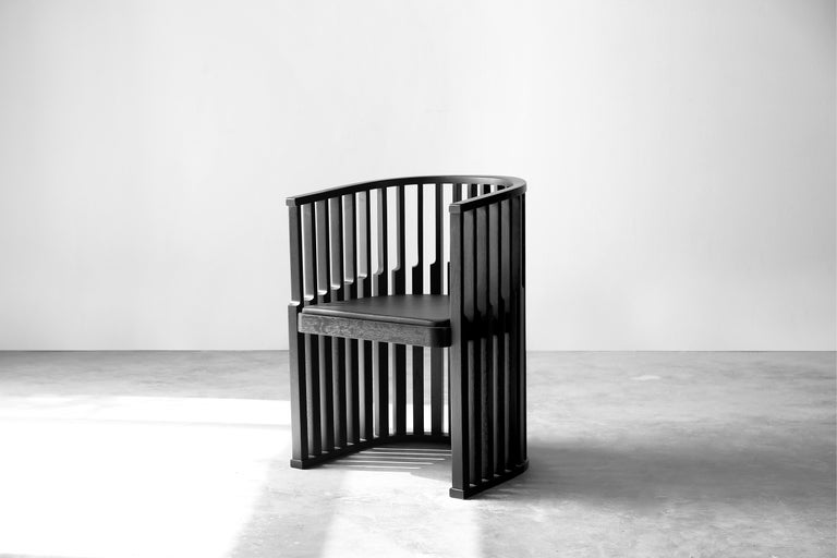 Black Oak Chair with Leather Seat Laws of Motion by Joel Escalona For Sale 1