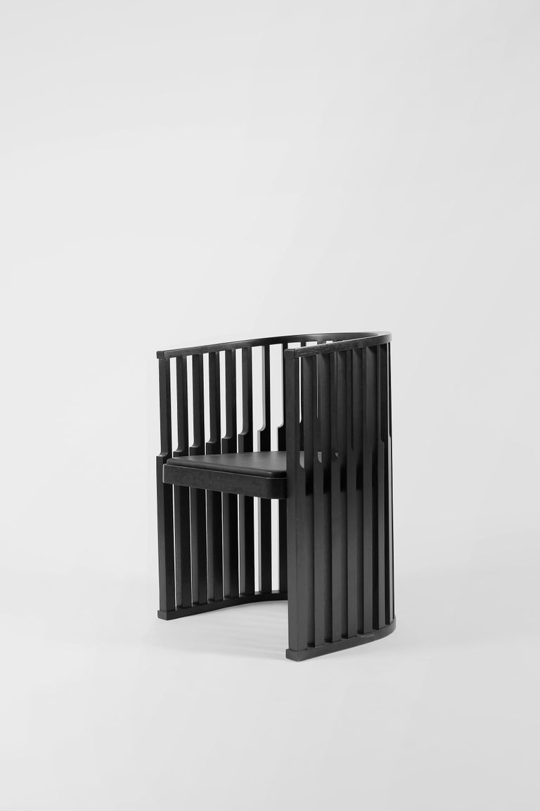 Black Oak Chair with Leather Seat Laws of Motion by Joel Escalona For Sale 2