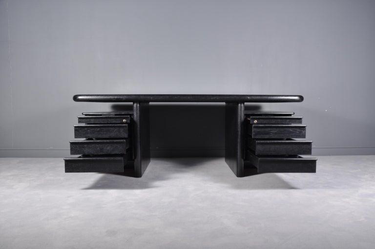 Black Oak Floating-Top Executive Desk For Sale 4
