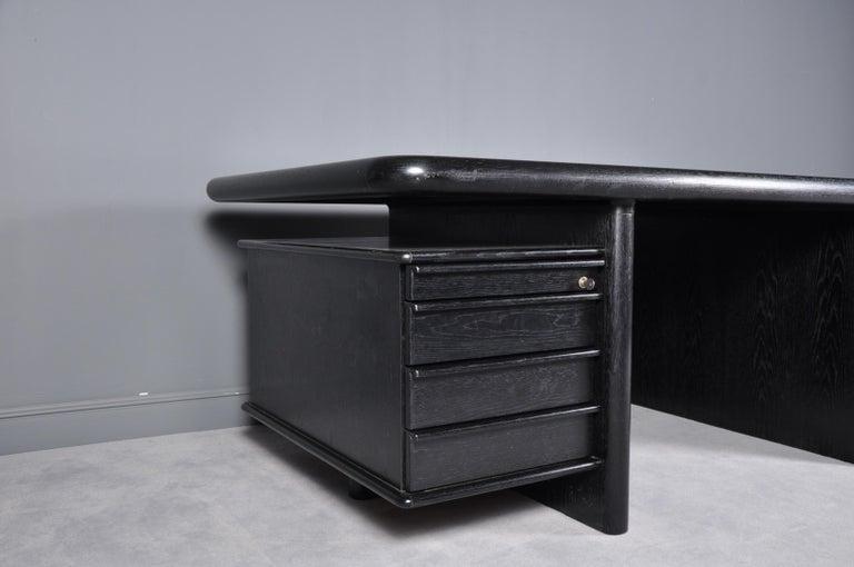 Hungarian Black Oak Floating-Top Executive Desk For Sale