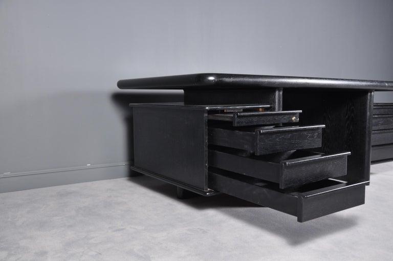 Black Oak Floating-Top Executive Desk For Sale 2