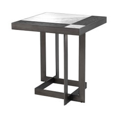 Black Oak Marble Side Table