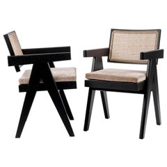 Black Oak Stained Frame Chair with Woven Cane Seat + Back with Cushion, Cassina