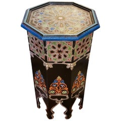 Black Octagonal Hand Painted Table, Marrakech