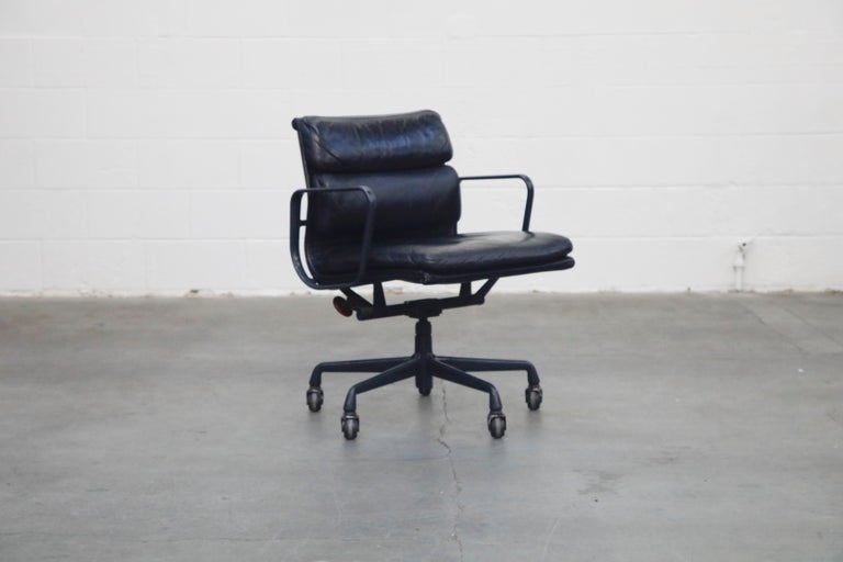 Mid-Century Modern Black on Black Eames Soft Pad Management Chair by Eames for Herman Miller, 1992