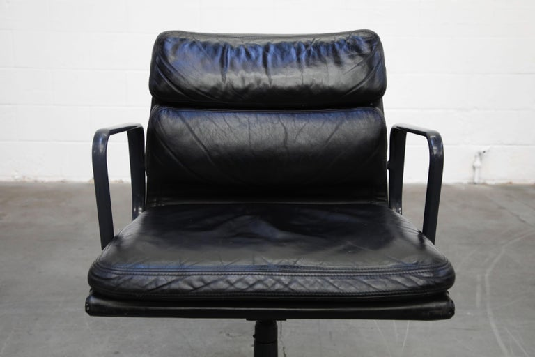 Leather Black on Black Eames Soft Pad Management Chair by Eames for Herman Miller, 1992
