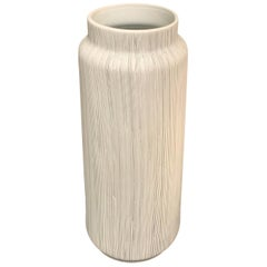 Black on White Porcelain Fine Striped Vase, Thailand, Contemporary