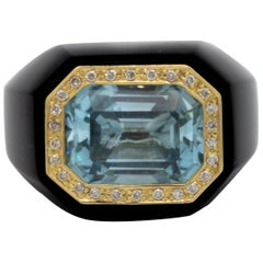 Black Onyx 10 Carat Aquamarine Ring with .66 Carat of Diamonds 18 Karat Gold
