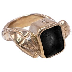 Black Onyx Gold Snake Statement Cocktail Ring J Dauphin