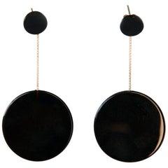Black Onyx 18 Karat Gold Circle Earrings