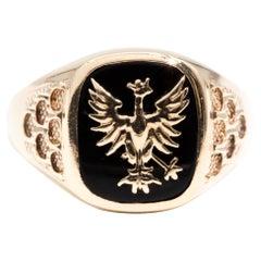 Black Onyx 9 Carat Yellow Gold Mens Vintage Signet Ring with Dragon Design
