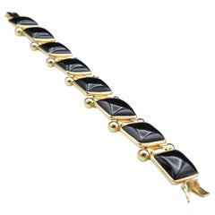 Black Onyx and 14 Karat Gold Link Bracelet