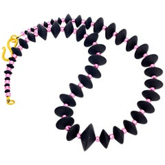 "Gemjumky Art Deco Collection 17.5"" Black Onyx & Pink Crystal Necklace"