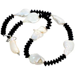 Super Elegant Black Onyx and Cultured Pearl Necklace