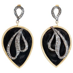 Black Onyx and Diamond Drop Earrings