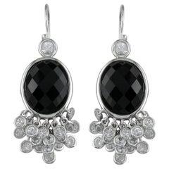 Hammerman Brothers Black Onyx and Diamond Drop Earrings