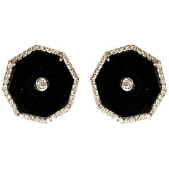 Black Onyx and Diamond Earring Studs