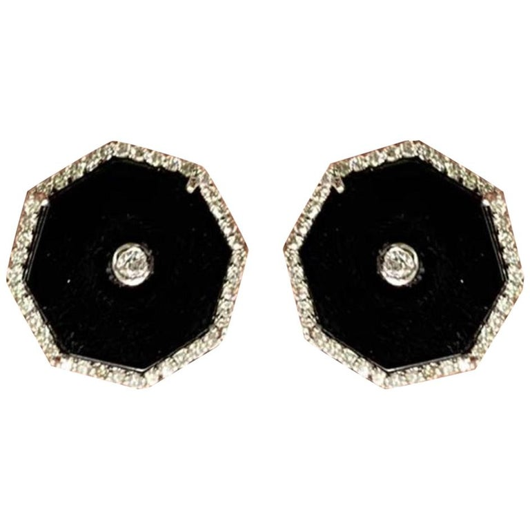 Onyx, diamond and white gold earrings, new